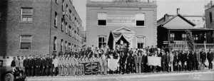 May 4, 1930 - Group shot of union members standing in front of their new home at 1835 Highland.